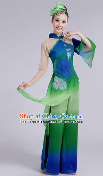 Chinese National Fan Dance Folk Dance Green Costume Traditional Yangko Dance Clothing for Women