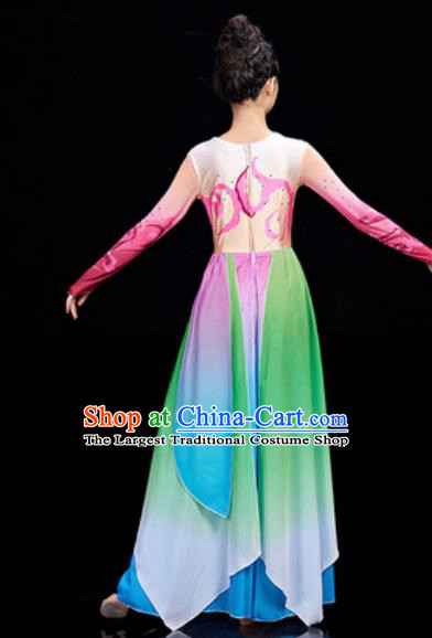 Chinese National Classical Dance Umbrella Dance Dress Traditional Lotus Dance Green Costume for Women