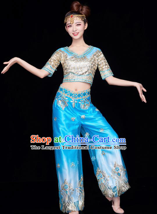 Chinese National Folk Dance Indian Dance Blue Costume Traditional Yangko Dance Fan Dance Clothing for Women