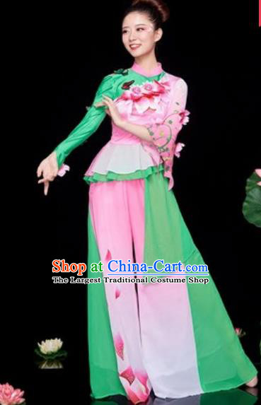 Chinese National Folk Dance Lotus Dance Pink Costume Traditional Yangko Dance Fan Dance Clothing for Women