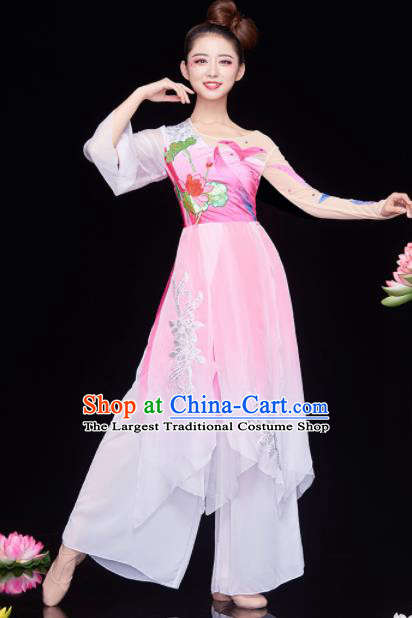 Chinese National Classical Dance Lotus Dance Dress Traditional Umbrella Dance Pink Costume for Women