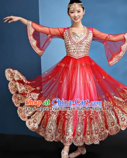 Chinese Traditional Ethnic Folk Dance Red Dress Uyghur Nationality Dance Costume for Women