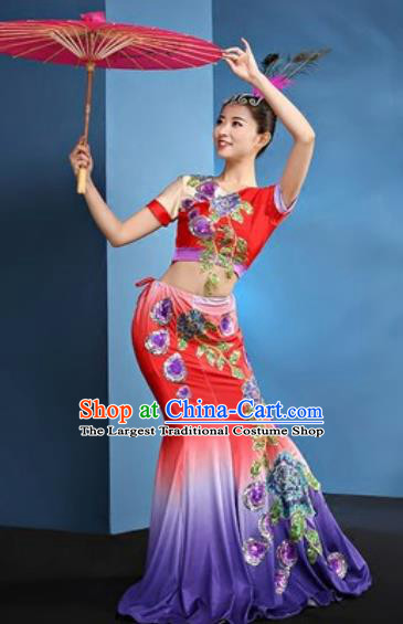 Chinese Traditional Ethnic Folk Dance Red Dress Dai Nationality Peacock Dance Costume for Women