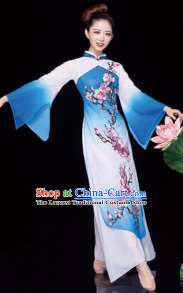 Chinese National Classical Dance Umbrella Dance Blue Dress Traditional Lotus Dance Costume for Women