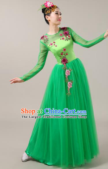 Chinese Traditional Chorus Green Veil Dress Opening Dance Modern Dance Costume for Women
