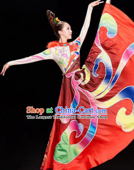 Chinese Traditional Ethnic Folk Dance Red Dress Mongol Nationality Dance Costume for Women