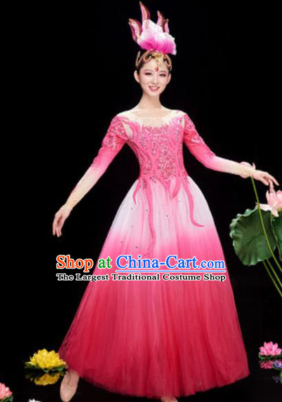 Chinese Traditional Chorus Pink Veil Dress Opening Dance Modern Dance Costume for Women