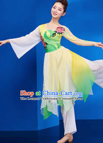 Chinese National Umbrella Dance Green Dress Traditional Classical Dance Costume for Women