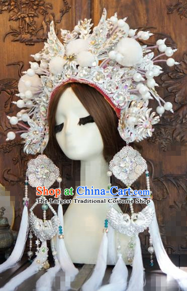 Chinese Traditional Handmade Hair Accessories Ancient Queen Luxury White Crystal Phoenix Coronet Headwear for Women