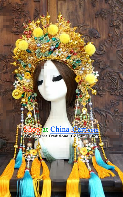 Chinese Traditional Handmade Hair Accessories Ancient Queen Luxury Golden Phoenix Coronet Headwear for Women