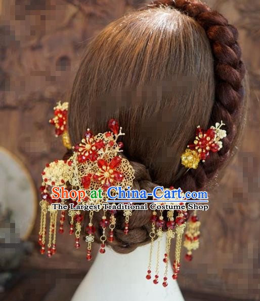 Chinese Traditional Hair Accessories Ancient Bride Red Beads Hairpins Handmade Tassel Step Shake Headwear for Women