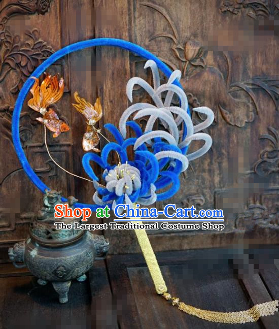 Chinese Traditional Wedding Palace Fans Ancient Queen Blue Velvet Chrysanthemum Round Fans for Women
