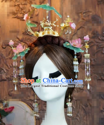 Chinese Traditional Handmade Lotus Leaf Phoenix Coronet Ancient Hairpins Hair Accessories Complete Set for Women
