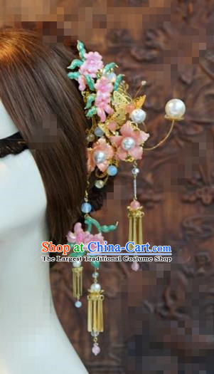 Chinese Traditional Hair Accessories Ancient Palace Tassel Step Shake Hairpins Headwear for Women