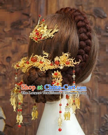 Chinese Traditional Hair Accessories Ancient Bride Dragons Hairpins Headwear for Women