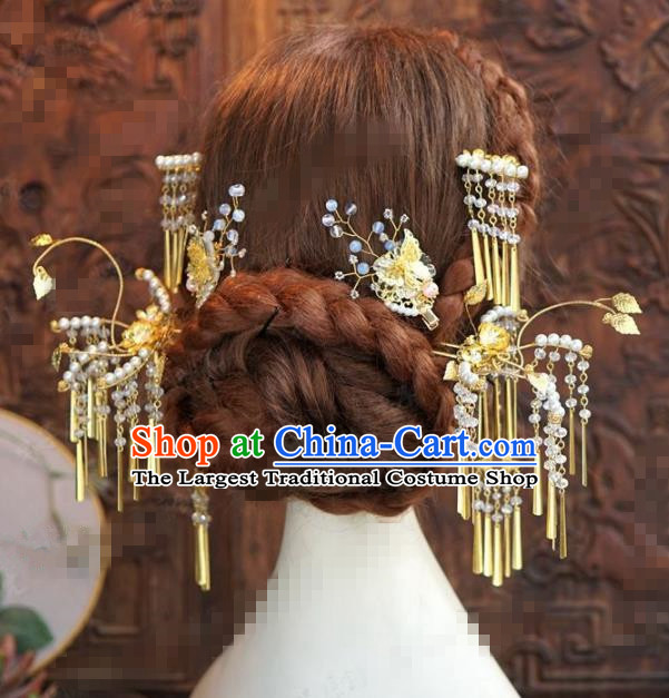 Chinese Traditional Hair Accessories Complete Set Ancient Palace Tassel Hairpins Headwear for Women
