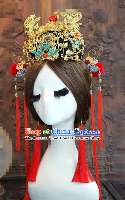 Chinese Traditional Handmade Blueing Phoenix Coronet Ancient Hairpins Wedding Hair Accessories Complete Set for Women