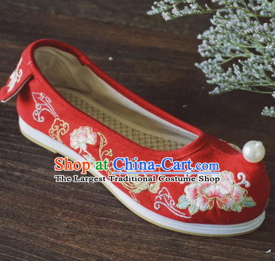 Asian Chinese Wedding Red Cloth Hanfu Shoes Traditional Ancient Princess Embroidered Shoes for Women