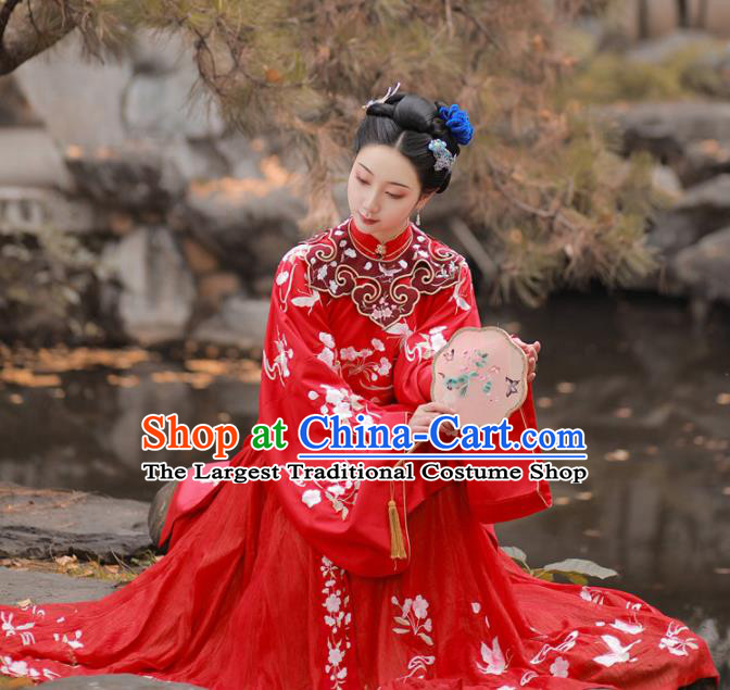 Chinese Traditional Ming Dynasty Wedding Historical Hanfu Dress Ancient Palace Princess Red Embroidered Costume for Women