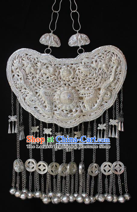 Traditional Chinese Miao Nationality Sliver Carving Accessories Hmong Wedding Large Tassel Necklace for Women