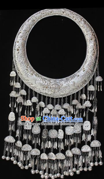 Traditional Chinese Miao Nationality Sliver Carving Accessories Hmong Wedding Bells Tassel Necklace for Women