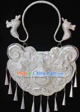 Traditional Chinese Miao Nationality Sliver Necklet Hmong Wedding Carving Dragons Necklace for Women