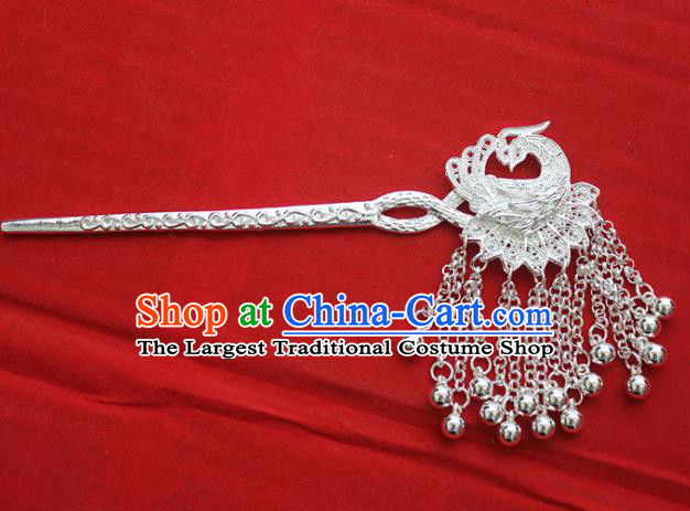 Traditional Chinese Miao Nationality Tassel Hair Accessories Hmong Female Folk Dance Peacock Hairpins for Women