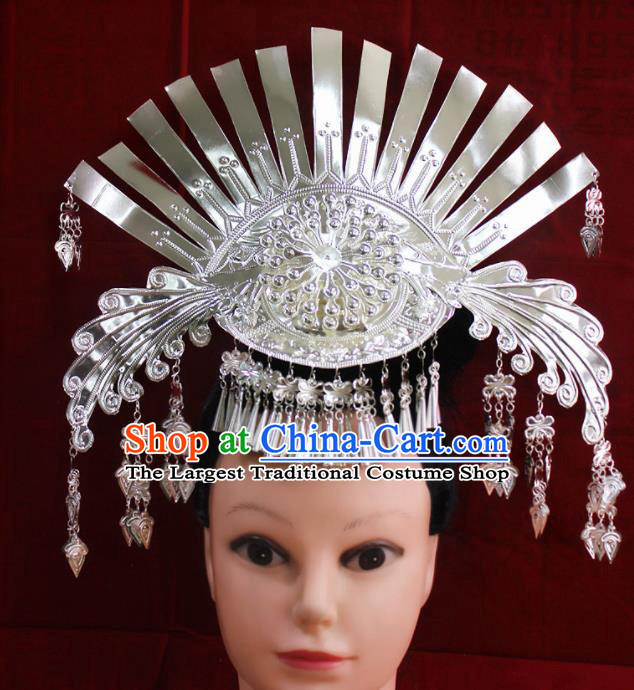 Traditional Chinese Miao Nationality Hair Accessories Hmong Female Folk Dance Headwear Phoenix Hairpins for Women