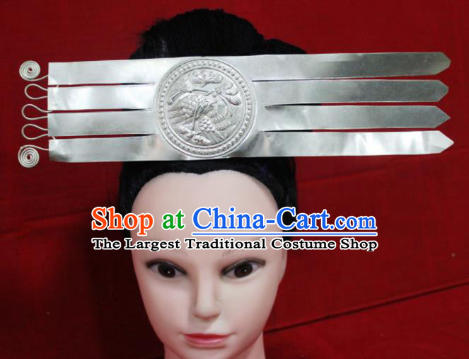 Traditional Chinese Miao Nationality Hair Accessories Hmong Ethnic Female Sliver Hairpins for Women
