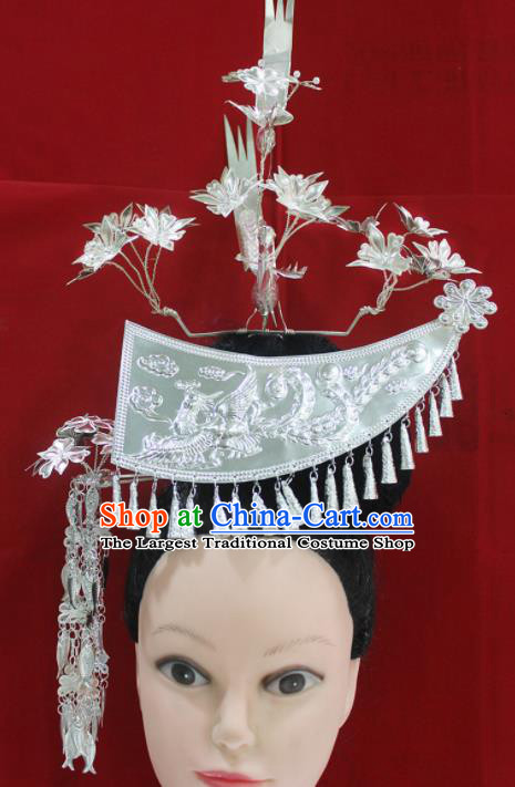 Traditional Chinese Miao Nationality Hair Accessories Hmong Ethnic Female Sliver Phoenix Hairpins for Women