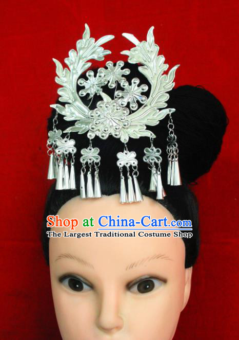 Traditional Chinese Sliver Hair Accessories Miao Nationality Ethnic Female Tassel Hairpins for Women