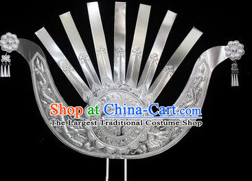 Traditional Chinese Miao Nationality Hair Accessories Hmong Female Carving Dragons Sliver Hairpins for Women