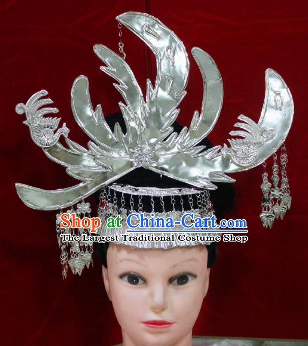 Traditional Chinese Hair Accessories Miao Nationality Peacock Phoenix Coronet Ethnic Female Hairpins for Women
