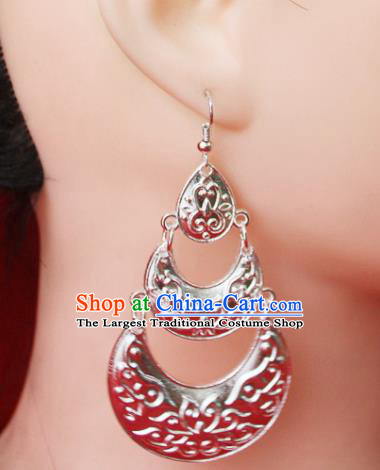 Traditional Chinese Ethnic Sliver Eardrop Accessories Miao Nationality Wedding Earrings for Women