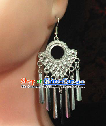 Traditional Chinese Ethnic Sliver Tassel Eardrop Accessories Miao Nationality Wedding Earrings for Women