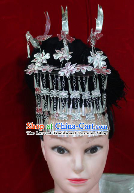 Traditional Chinese Hair Accessories Miao Nationality Sliver Birds Phoenix Coronet Ethnic Female Hairpins for Women
