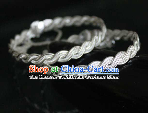 Chinese Traditional Miao Nationality Sliver Bracelet Hmong Wedding Bangle for Women