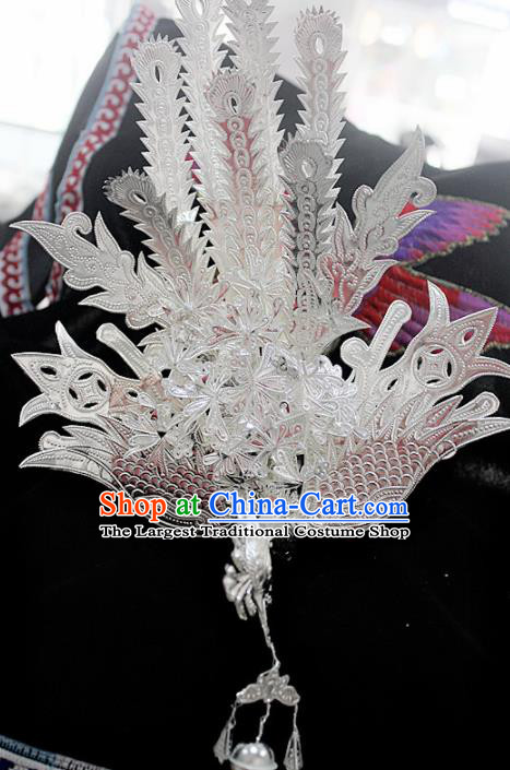 Traditional Chinese Sliver Phoenix Hair Accessories Miao Nationality Ethnic Female Hairpins for Women