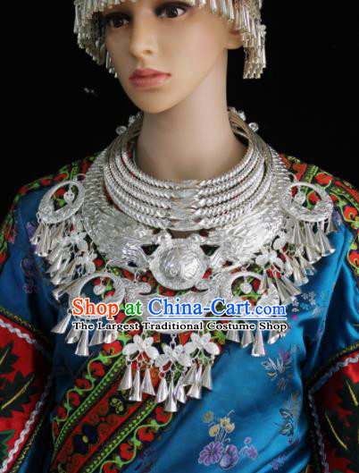 Chinese Traditional Miao Nationality Wedding Necklet Hmong Sliver Carving Necklace for Women