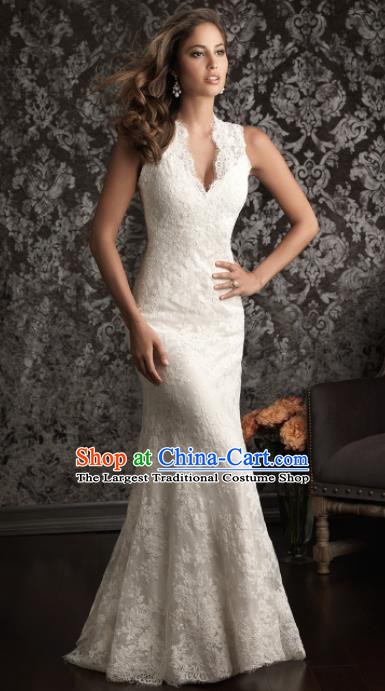 Professional Princess Embroidered White Lace Trailing Wedding Dress Modern Dance Compere Full Dress for Women