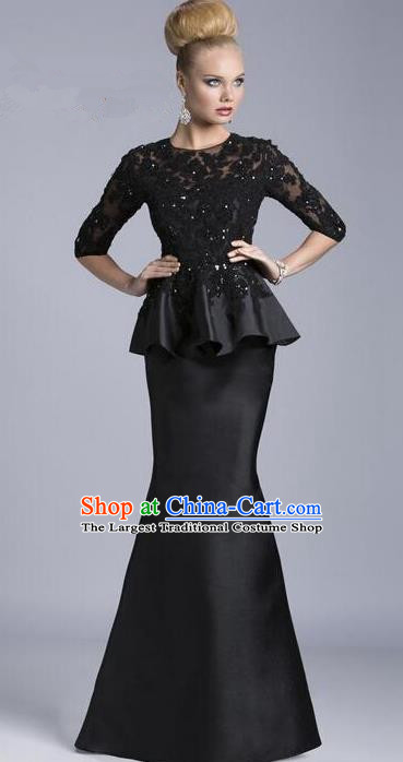 Top Grade Compere Costume Black Satin Lace Full Dress Modern Dance Princess Wedding Dress for Women