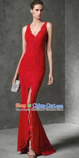 Top Grade Compere Costume Red Lace Full Dress Modern Dance Princess Wedding Dress for Women