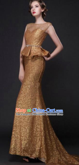 Top Grade Compere Modern Fancywork Costume Golden Trailing Full Dress Princess Wedding Dress for Women