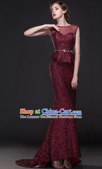 Top Grade Compere Modern Fancywork Costume Wine Red Trailing Full Dress Princess Wedding Dress for Women