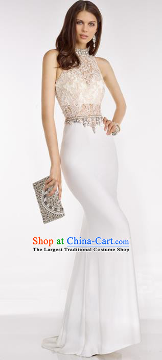 Top Grade White Lace Full Dress Compere Modern Fancywork Costume Princess Wedding Dress for Women