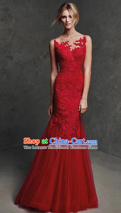 Top Grade Red Lace Full Dress Compere Modern Fancywork Costume Princess Wedding Dress for Women