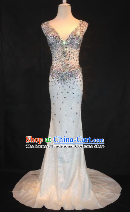 Professional Compere White Diamante Full Dress Modern Dance Princess Wedding Dress for Women