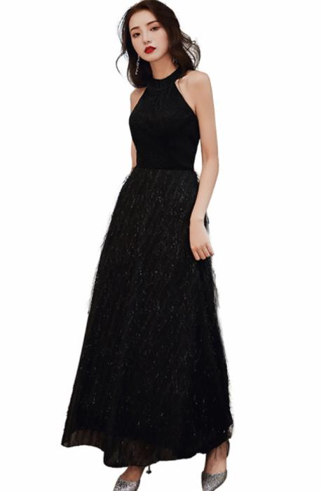 Top Grade Black Lace Full Dress Compere Modern Fancywork Costume Princess Wedding Dress for Women