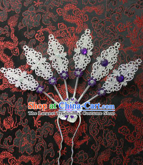 Traditional Chinese Ethnic Wedding Purple Crystal Hair Clip Hair Accessories Miao Nationality Bride Hairpins for Women