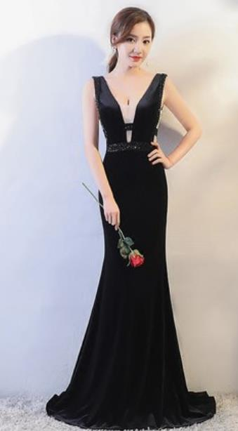 Top Grade Catwalks Black Evening Dress Compere Modern Fancywork Costume for Women